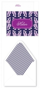 Foxy note set with fab striped envelope liners from May Designs, Set of 12 for $25