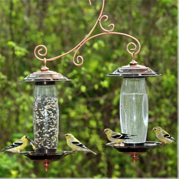 Perky-Pet Garden Sip & Seed Bird Feeder, $43.95 from Perky-Pet.com Constructed of durable plastic and antiqued copper finish.  Each container can store food or water and can be set up to serve only water or only seed.