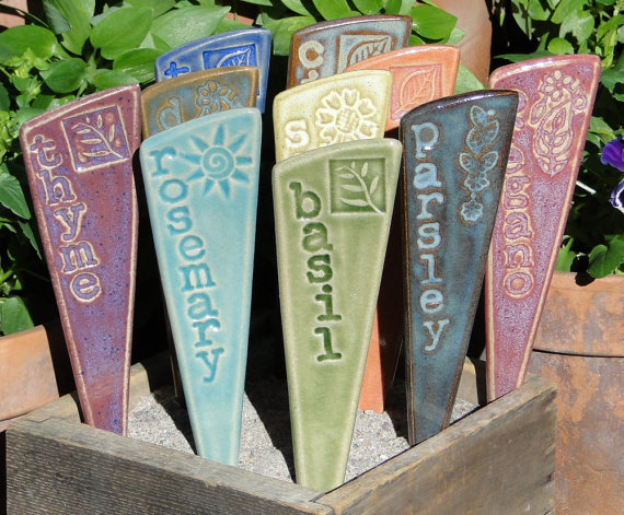 Mix and match beautiful herb/vegetable markers made of glazed and fired stoneware from ArtisanHands store on Etsy, $22 for a set of 3