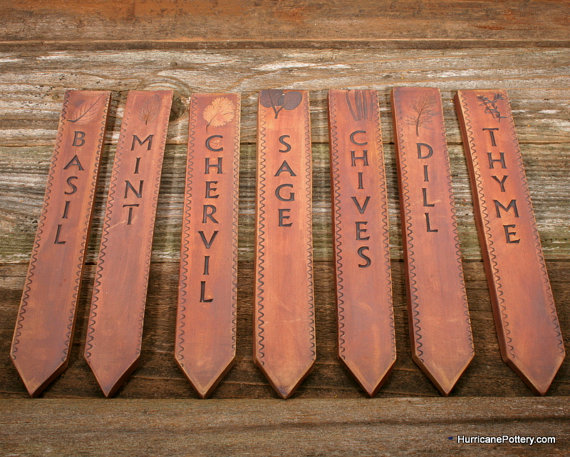 Customizable rustic set of 16 Ceramic Herb/Vegetable Markers by HurricanePottery, $96