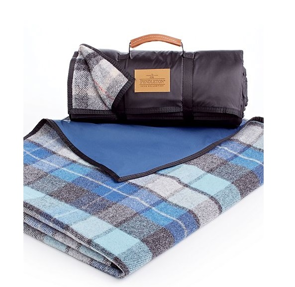 "Pendleton Roll-Up Outdoor Nylon Reverse Wool Blanket, on sale at Macy's for $119.99 Dimensions: 70"" x 62"", wool and nylon"