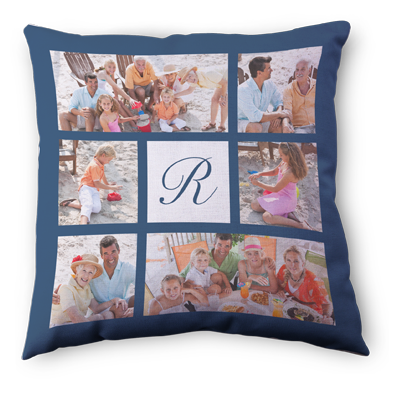 "Decorative throw pillows from Snapfish, 18"" x 18"" for $34.99 or 26"" X 26"" $49.99  Pillow is machine washable, personalized on the front and black on the back, pillow is included"