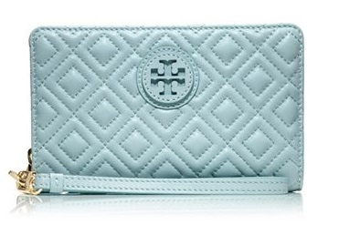 Marion Quilted Smartphone Wristlet in Geyser, $165 by Tory Burch Italian Leather
