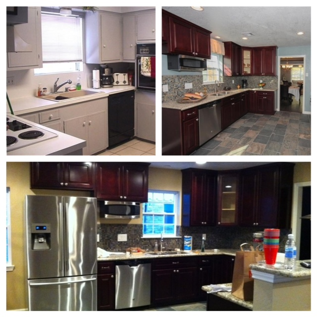 Remember that yucky blue color I was telling you about?  The whole house was either this blue or dark gray.  Not my first choice for a kitchen with cherry cabinets! Top Photo-Pre-Remodel Middle Photo- Post-Remodel Bottom Photo- Paint makeover after purchase