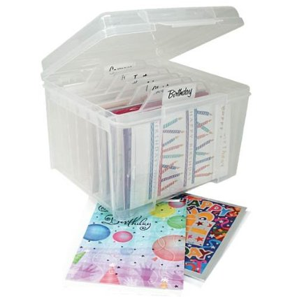 Iris USA Greeting Card Storage Box with Clear Dividers, $8.99 from Amazon.com