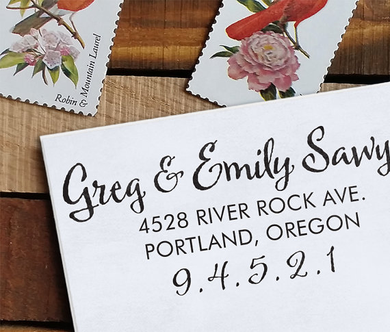 I love Etsy seller, Note Trunk's, custom self-inking stamps.  They last forever and have a great selection of styles and fonts!