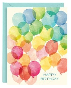 Cheerful Watercolor Balloons Birthday Cards, Set of 10 for $12.50 from PaperSource
