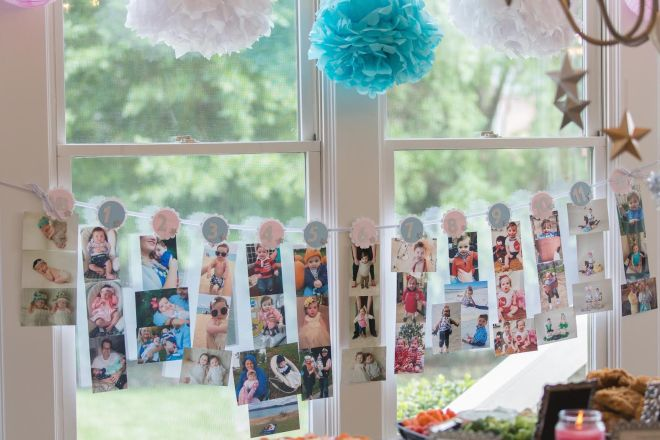 Gorgeous photo banner showcasing favorite photos from each month of Riley and Parker's first year. Photo: Headrick's Photography