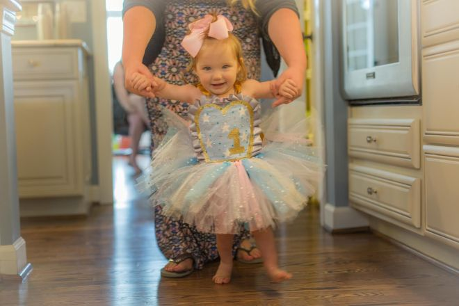 Riley looking adorable and ready to party in her special birthday gown. Photo: Headrick's Photography