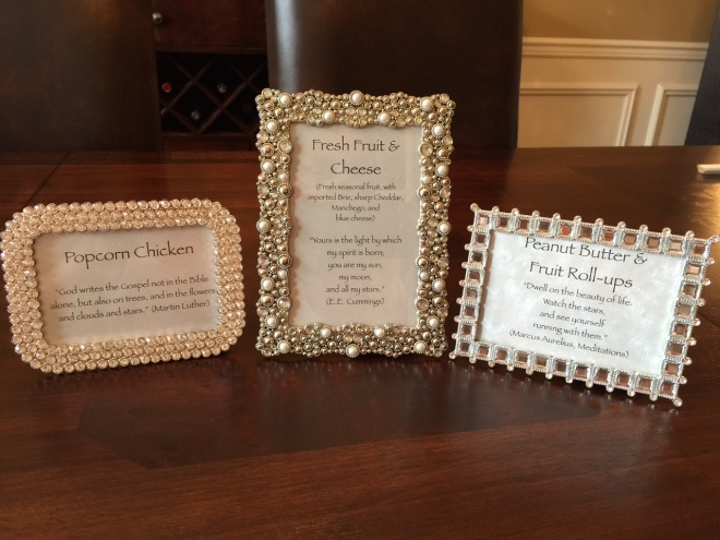The menu items printed on card stock look beautiful in Jenn's sparkly frames Photo: Headrick's Photography