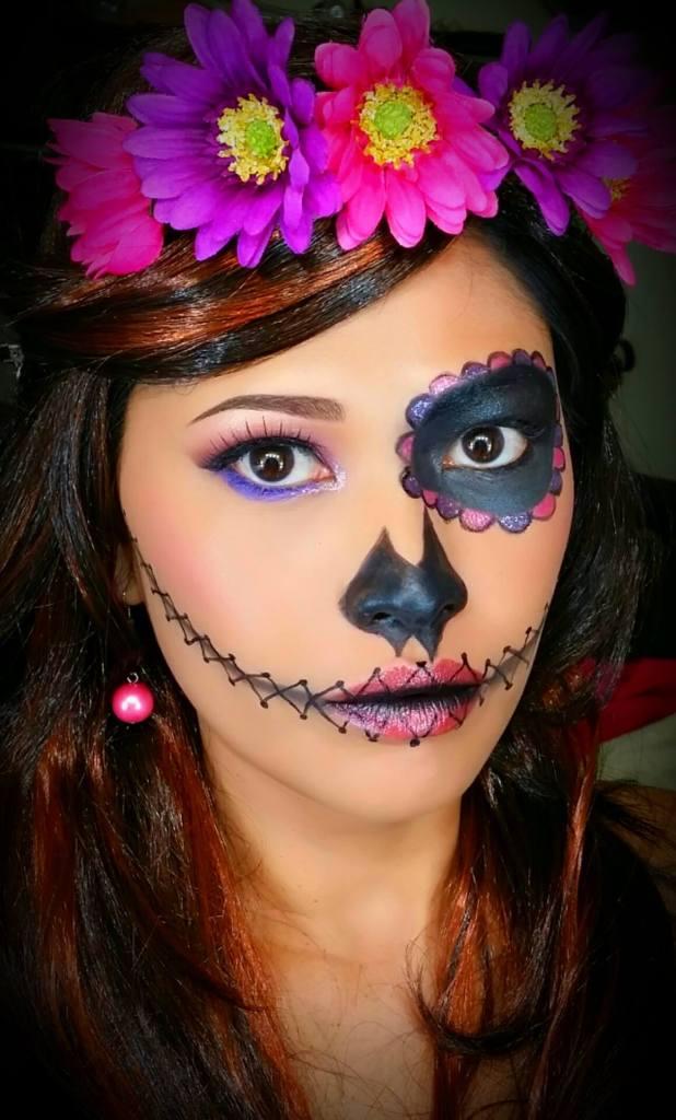 Myra models her Sugar Skull makeup for Halloween Photo: Makeup by Myra
