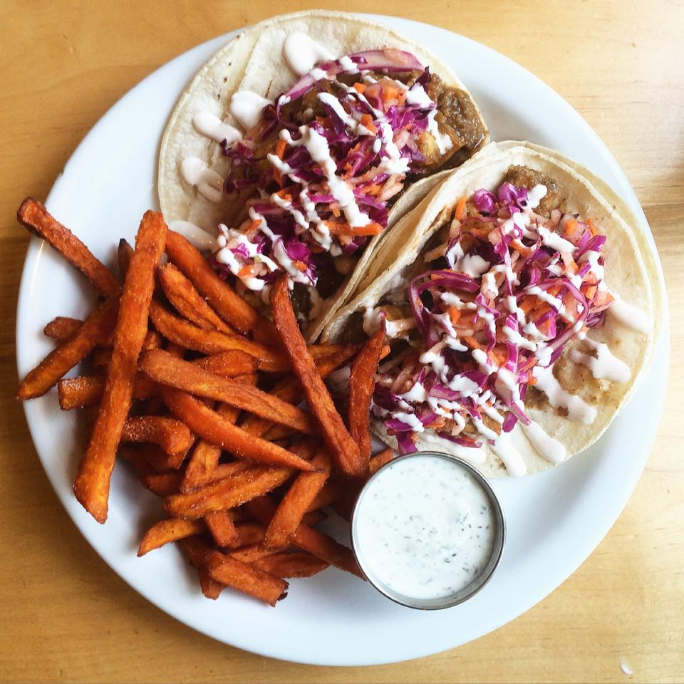 Food coma! Jerk tofu tacos w/ apple slaw and cayenne-lime sauce! Photo: The Owlery
