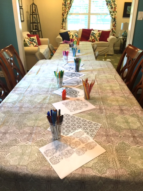 No need for centerpieces! I divided my pens/markers by color and lined the table with them. Photo: IDOPT