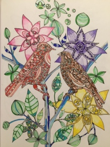 Love Birds, colored pencil, glitter gel pens, markers Photo: IDOPT